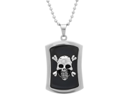 "Oxford Ivy Men's Stainless Steel Skull and Cross Bone Dog Tag Necklace on 22"" Chain"