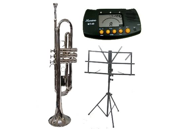 MERANO B Flat Silver Trumpet with Case,MouthPiece,Oil,Golves+Free Music Stand,Metro Tuner