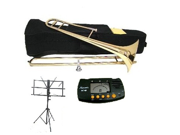 MERANO B Flat Gold Slide Trombone with Case,MouthPiece,Oil,Golves+Free Music Stand,Metro Tuner