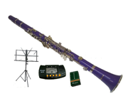 Merano B Flat PURPLE Clarinet with Carrying Case+Metro Tuner+Music Stand+11 Reeds