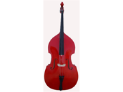 Merano 4/4 Size Red Student Double Bass with Carrying Soft Bag, Bow + Free Rosin