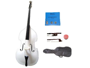 Merano 1/8 Size White Student Double Bass with Carrying Soft Bag, Bow + 2 Sets Strings+Rosin