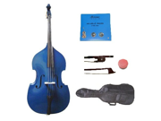 Merano 4/4 Size Blue Student Double Bass with Carrying Soft Bag, Bow + 2 Sets Strings+Rosin