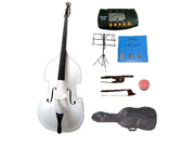 Merano 3/4 Size White Student Double Bass with Carrying Soft Bag, Bow + 2 Sets Strings+Music Stand+Metro Tuner+Rosin