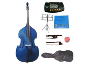 Merano 3/4 Size Blue Student Double Bass with Carrying Soft Bag, Bow + 2 Sets Strings+Music Stand+Metro Tuner+Rosin