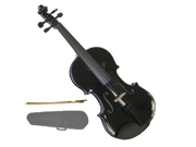 Merano 4/4 Size Black Violin with Case, Bow + Free Rosin