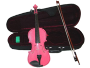 Merano MV400 1/10 Size Pink Ebony Fitted Violin with Case and Bow