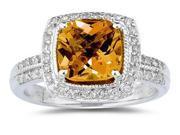 2.50 Carat Cushion Cut Citrine & Diamond Ring in 14K White Gold