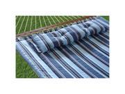 Bliss Hammocks European Quilted Hammock w/ Button Tuft Pillow - Blue Stripe