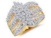 Diamond Cluster Ring Womens Anniversary 10k Yellow Gold (1.02 Carat)