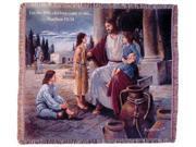 """Let the Children Come"" Matthew 19:14 Jesus Tapestry Throw Blanket 50"" x 60"""