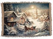 "Dashing Thru The Snow Sleigh Holiday Christmas Tapestry Throw Blanket 50""x 60"""