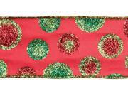 """Set of 6 Christmas Whimsey Glittered Polka-dot Ribbon (10 YDs) 2.5"""""""