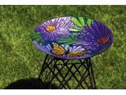 """18"""" Vibrant Purple Flower and Monarch Butterfly Painted Glass Bird Bath Bowl"""