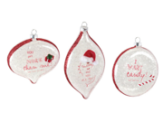 """Pack of 6 Sassy Embellished Red and White Glittered Christmas Ornaments 4-6.5"""""""
