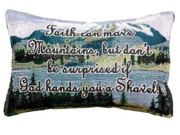 "Set of 2 ""Faith Moves Mountains"" Decorative Throw Pillows 9"" x 12"""
