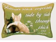 "Set of 2 ""Side By Side"" Friends Cat Kitten Throw Pillows 9"" x 12"""