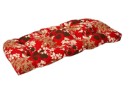 Outdoor Patio Furniture Wicker Loveseat Cushion - Tropical Red Flower