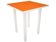 """36"""" Recycled Earth-Friendly Square Bar Table - Orange with White Frame"""