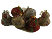 """Club Pack of 288 Onion and Bell Shaped Glittered Ivy Christmas Ornaments 3"""""""