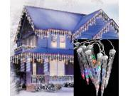 Set of 6 LED Multi-Color Dripping Icicle Shape Christmas Lights - White Wire