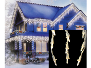 Set of 105 Warm White LED Cascading Mini Icicle Christmas Lights - White Wire