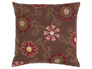 "18"" Autumn Flower Chocolate Brown and Carmine Pink Decorative Down Throw Pillow"