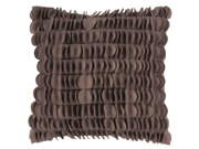 """22"""" Coffee Brown Dimensional Applique Scalloped Decorative Down Throw Pillow"""