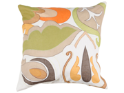 "18"" White and Lime Green Abstract Retro Floral Scroll Decorative Throw Pillow"