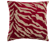 """22"""" Red and Beige Hot Animal Print Decorative Down Throw Pillow"""