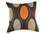 "22"" Chocolate Brown and Sage Green Retro Floating Bubble Down Throw Pillow"