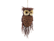 "13"" Modern Lodge Pine Cone and Twig Owl Christmas Ornament Decoration"