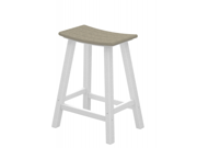 "24.75"" Recycled Earth-Friendly Curved Outdoor Bar Stool - Sand With White Frame"