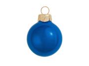 "40ct Pearl Cobalt Blue Glass Ball Christmas Ornaments 1.25"" (30mm)"