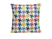 """18"""" Decorative Multi-Colored Houndstooth Embroidered Cotton Twill Throw Pillow"""