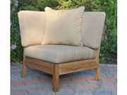 """35"""" Natural Teak Deep Seating Outdoor Patio Sectional Corner with Blue Cushions"""