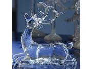 Pack of 4 Icy Crystal Sitting Deer Decorative Figurines 7.5""