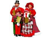 Set of 4 Red and Plaid Caroler Family of Four Christmas Table Top Figures