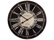 "24"" Black & White Vintage-Style Round Roman Numeral Wall Clock"