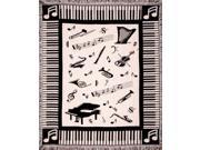 """Music Notes Piano & Instruments Afghan Throw Blanket 50"""" x 60"""""""