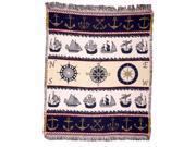 """Mariner Time"" Nautical Afghan Throw Blanket 50"" x 60"""