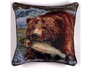 """Joys of Fishing"" Bear & Salmon Decorative Accent Throw Pillow 17"" x 17"""