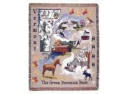 """State of Vermont Retro Tapestry Throw Afghan 50"""" x 60"""""""