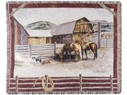 """Serene Rustic Western Ranch & Animals Theme Tapestry Throw Blanket 50"""" x 60"""""""
