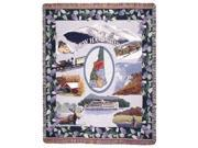 """State of New Hampshire Pictoiral Tapestry Throw Afghan 50"""" x 60"""""""