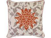 "18"" Scrolling Floral Leaf Rusty Orange and Beige Decorative Down Throw Pillow"