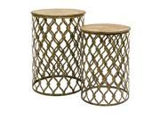 Set of 2 Laila Moroccan Pattern Circular Nesting Tables 26.5""