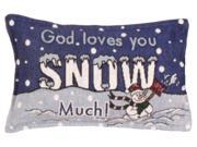 """2 """"Snow Much"""" Religious Snowman Christmas Decorative Tapestry Throw Pillows 12"""""""