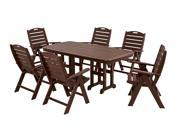 Recycled Earth-Friendly 7-Piece Patio Table and Chairs Dining Set - Mahogany