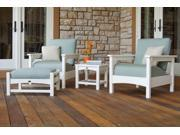 Recycled Earth-Friendly 4-Piece Outdoor Furniture Set - White with Spa Cushions